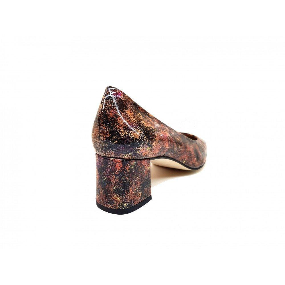 Gennia HOLGA OLEO BRAUN Gold - Damen Pumps aus Glattleder Absatz gemacht Absatz Glattleder Blockabsatz höhe 5 cm 25b9f7