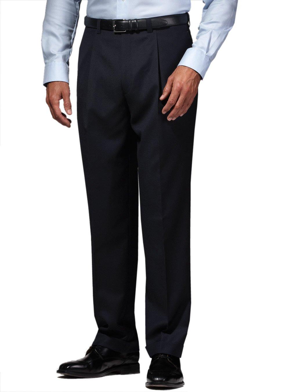 Suit Dress Pants Separates Slacks Pleated Trouser Charcoal (38W x 32L, Charcoal)