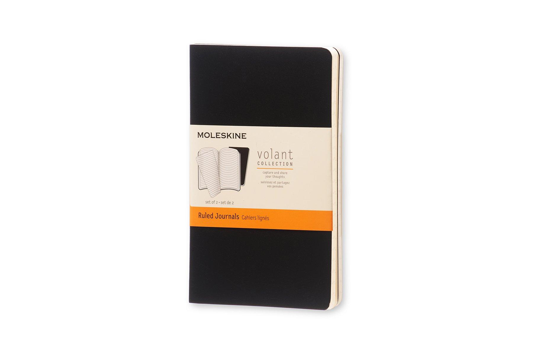 Moleskine Volant Soft Cover Journal, Black, Ruled, Pocket x2