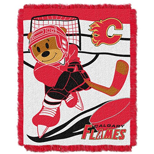Calgary Flames Blanket (Officially Licensed NHL Calgary Flames Score Woven Jacquard Baby Throw Blanket, 36