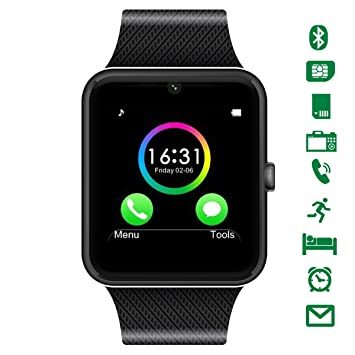 "CHEREEKI Montre Connectée 1.54"" avec Appareil Photo, Smartwatch Bluetooth Prend en Charge SIM Card"