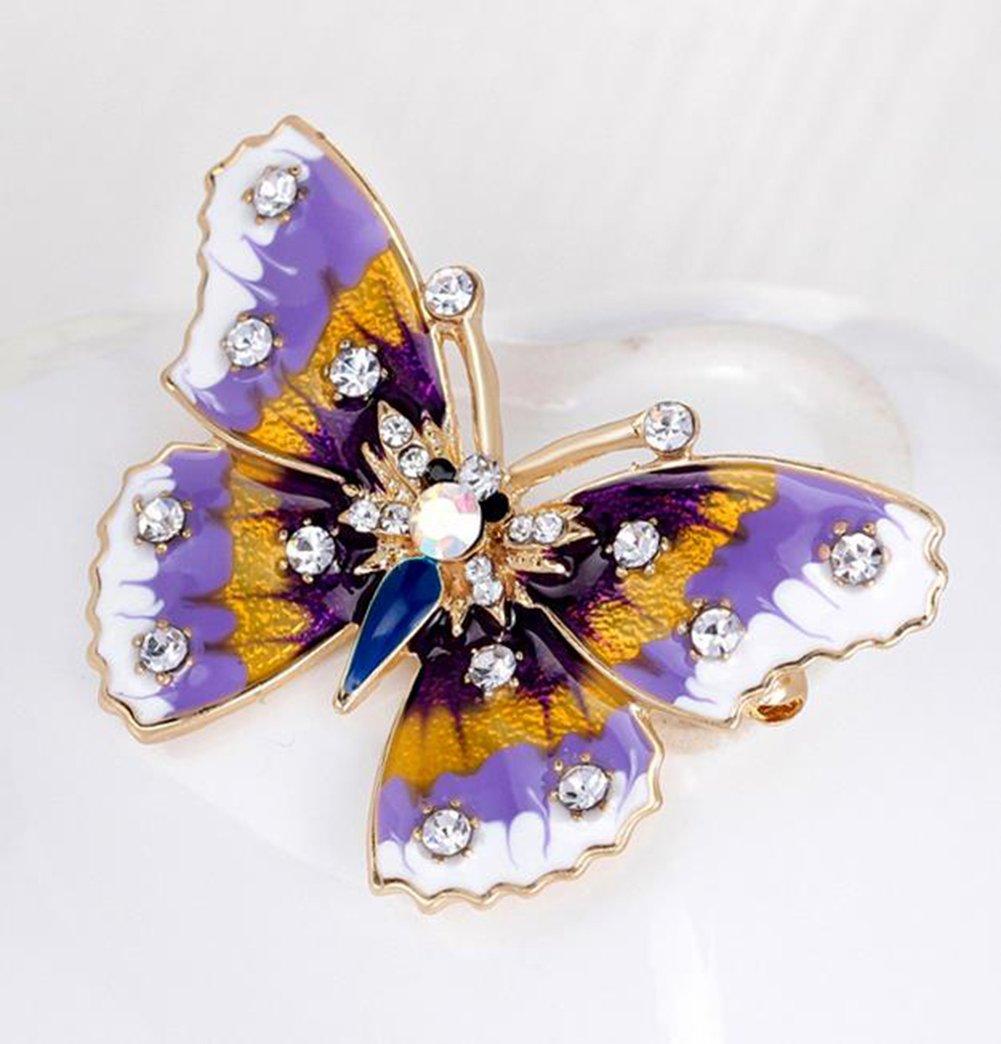 MSYOU Broche de aleación con forma de mariposa creativa broches novedad Pin insignia accesorios para ropa, abrigos, sombreros, gorras (colorido) 3.0 * 4.4 ...