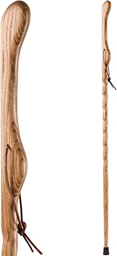 Brazos Trekking Pole Hiking Stick for Men and Women Handcrafted of Lightweight Wood and made in the USA, Tan Oak, 58 Inches