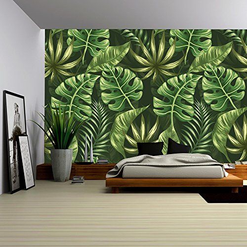 wall26 - Vector - Seamless pattern with palm leaves stylized like watercolor - Removable Wall Mural | Self-adhesive Large Wallpaper - 100x144 inches -