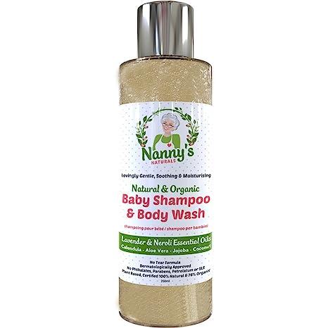 Champú y gel para el cuerpo para bebés completamente natural y orgánico | Lavanda y flor