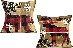 """Doitely Retro Vintage Wood Background Set of 2 Red Black Plaid Wildlife Bear Elk Cotton Linen Throw Pillow Case White Snowflake Cushion Cover 18"""" X 18"""" Farmhouse Xmas Decorations"""