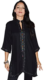 Ethnic Women Tunic Shirt Handmade Breathable Cotton Moroccan Casual Fashion Large to X-Large Chocolate