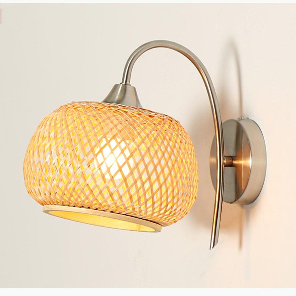 Energiesparende verstellbare Wandleuchte - Einfache moderne Eisen Bambus Weave Schirm Nachttisch Lampe Wohnzimmer Gang Balkon Schlafzimmer Wand Lampe (Nicht die Lichtquelle einschließen)