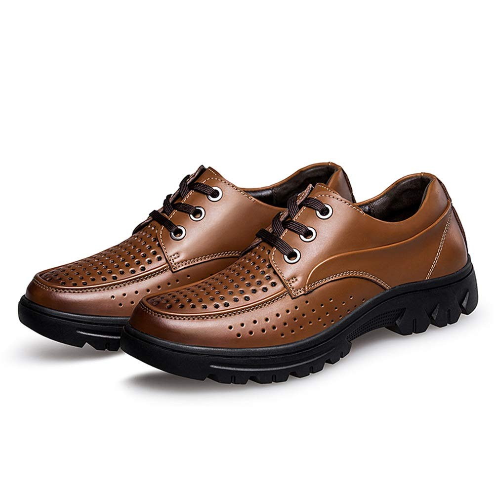 Brown Men's Perforated Oxford Casual shoes Genuine Leather Lining Lace up Style Easy on & Off Strong Anti Slip Outsole shoes for Men