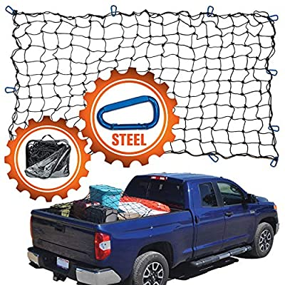 """4'x6' Super Duty Truck Cargo Net for Pickup Truck Bed Stretches to 8'x12' 