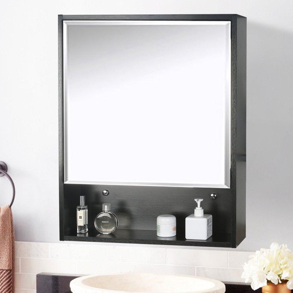 U-Eway 22''x28'' Bathroom Medicine Cabinet Organizer With Mirror 3-Height Adjustable Shelf Wall Mounted Surface Black Bathroom Storage by U-Eway (Image #6)