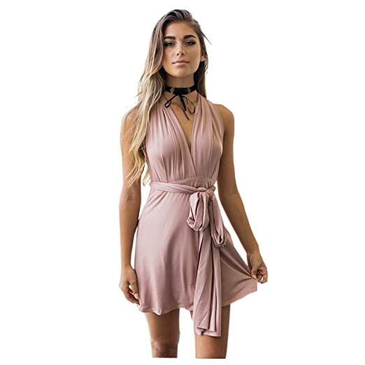 Toogoo Womens Sexy Dress Elegant Evening Party Summer Dress Deep V Neck Club Spaghetti Strap Backless