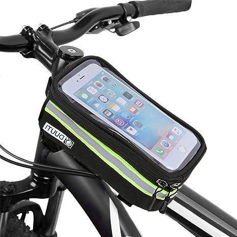 TAOZYY Bicicleta Bicicleta Bicicleta Cabeza Tubo Mango Teléfono móvil Bolsa Caja Soporte Bicicleta Marco Caja para 6.5: Amazon.es: Deportes y aire libre