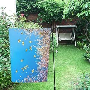 InterestPrint Happy More Custom Cherry Blossom and Butterflies Decor - Bandera de jardín doble de 30,5 x 45,7 cm