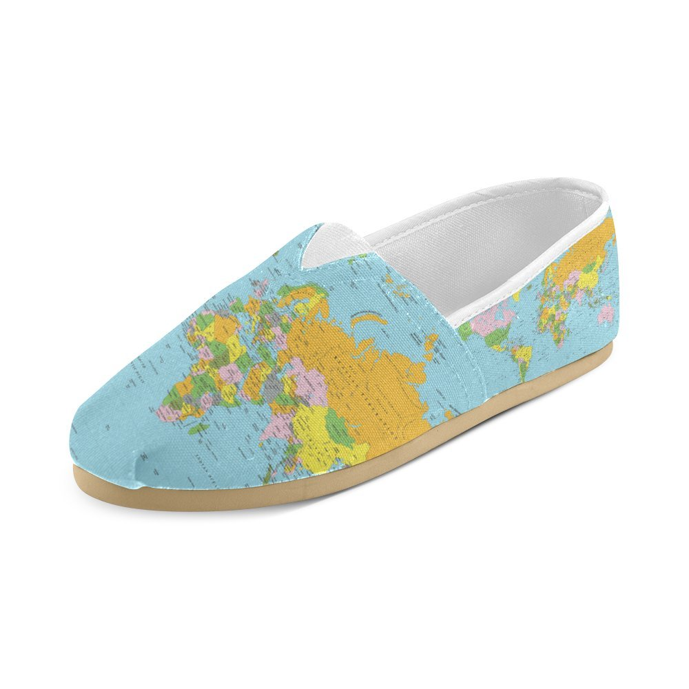 Unisex Shoes World Map Casual Canvas Loafers for Bia Kids Girl Or Men