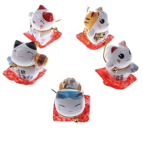 KESOTO 5 Unidades Figura de Gato Afortunado de Dibujos Animados Ornamento para Hogar Oficina Escritorio -