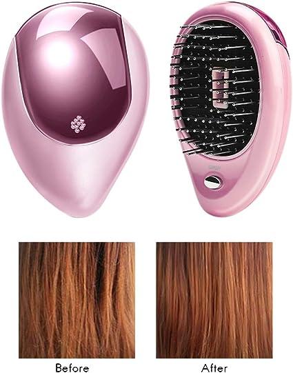 Comtervi Brosse à Cheveux ionique électrique portative, Brosse à Cheveux électrique ionique, Mini Brosse ionique pour Cheveux, Peigne de Massage