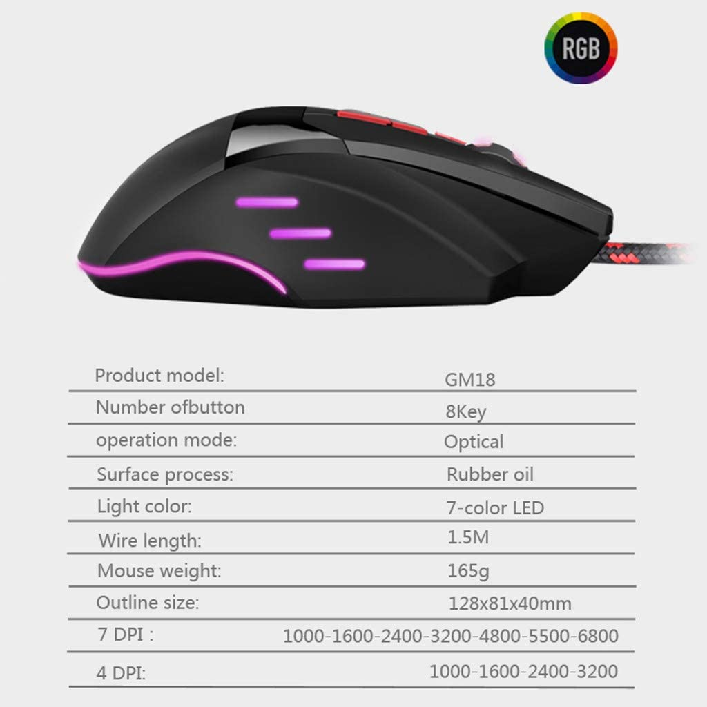 Black Bosji Gaming Mouse BLOODBAT GM18 Wired Gaming Mouse Ergonomic Design 6800DPI 7Gears Optical Mice for Computer Games /& Work