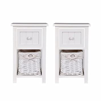 Costway 2 Tier Night Stand Table With Drawer Wicker Basket White Wood Cabinet Organizer Bedside Table Sofa End Table For Living Room Bedroom