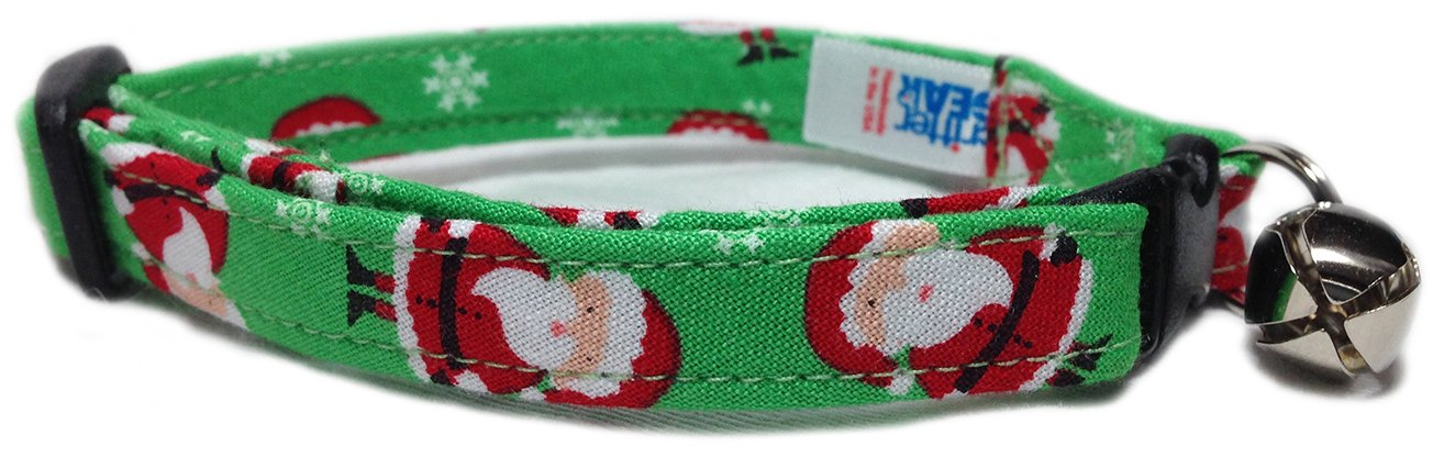 amazoncom breakaway cat collar in christmas with mini santas usa made pet supplies