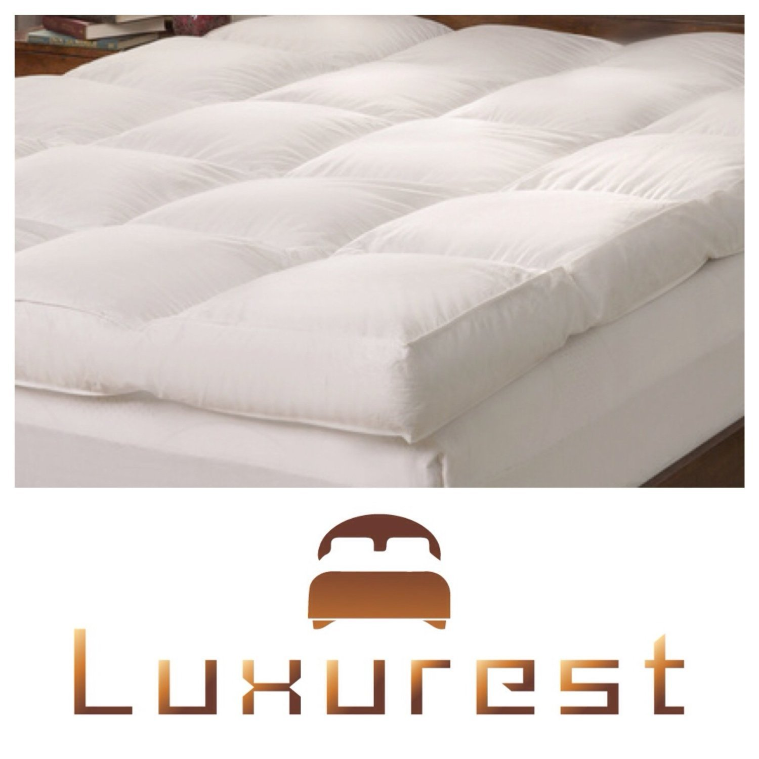 Feather Bed | Pillow Top Mattress Topper | 5 Inch | Free Cover Included | This Luxurious Mattress Pad Is the Perfect Addition to Your Current Mattress. (King) by LuxurestLLC