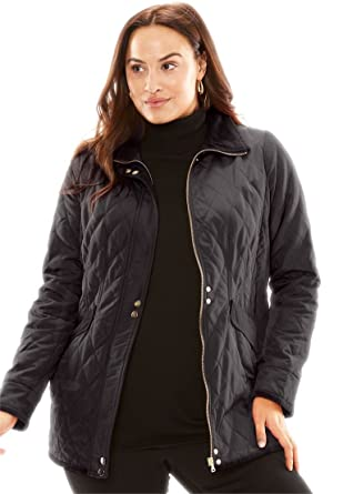 Jessica London Women s Plus Size Quilted Parka with Velvet Collar - Black 002726067