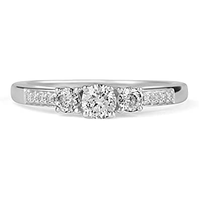 597b5fc502d9d 14k White Gold Women 3-Stone Engagement Ring 0.52 cttw Round Diamonds Prong    Pave