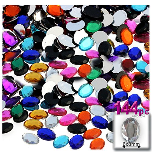 144pc Rhinestones Oval 6x8mm - Jewel Tone Assortment