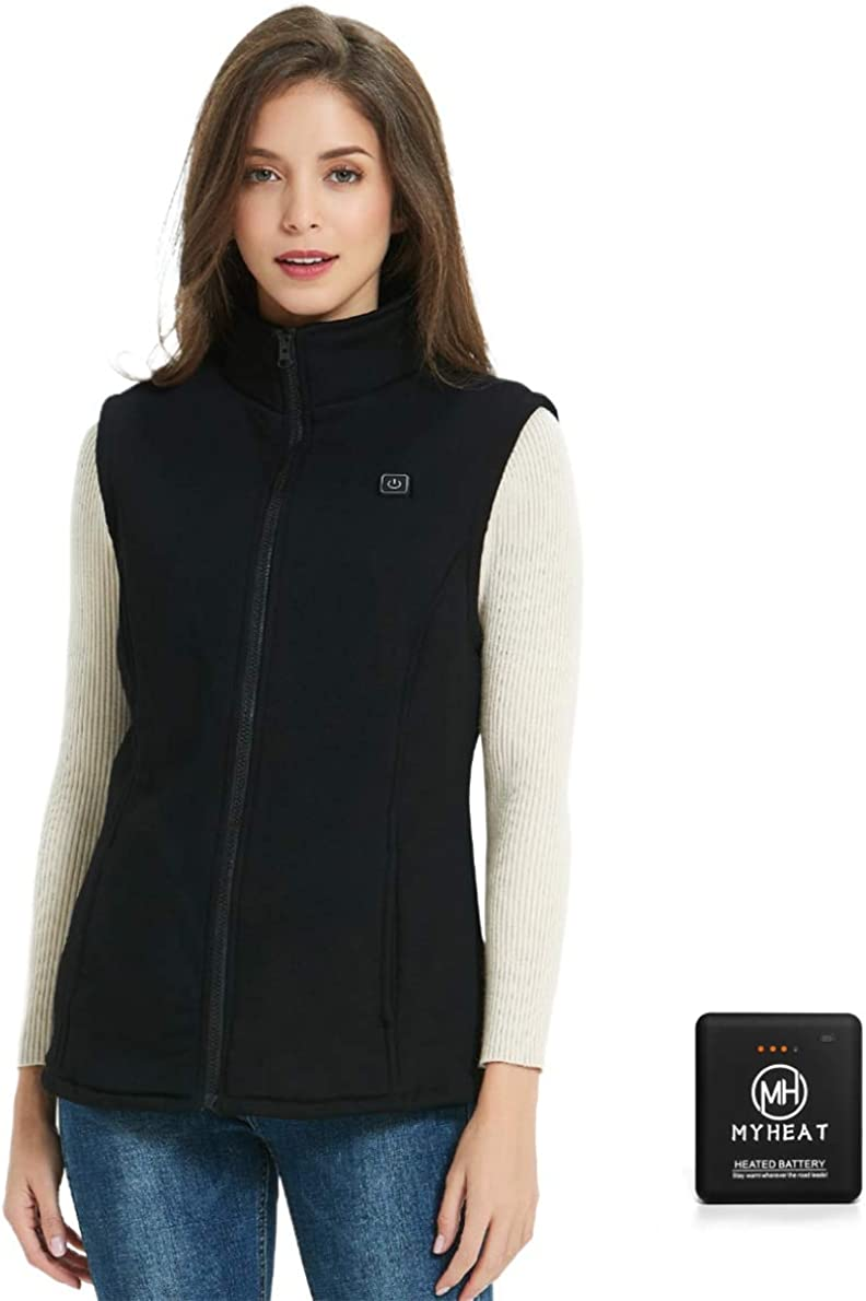 MYHEAT Women's Fleece Heated Vest with Battery Pack Lightweight Breathable for Winter Black, XX-Large