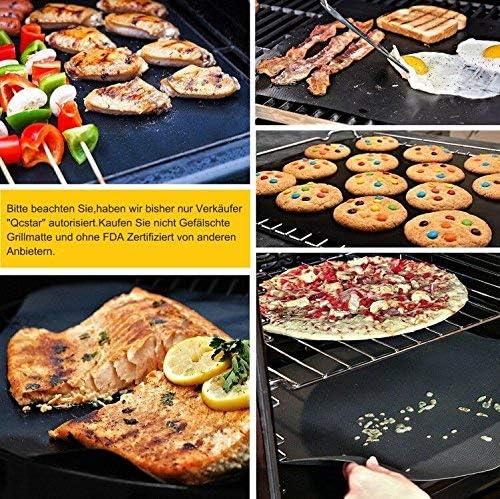 EXTSUD Tapis de Cuisson Set de 3 Feuille de Cuisson pour Barbecue et Four 40 * 50cm Tapis Barbecue Anti-adhésif Réutilisable pour Barbecue à Gaz, Charbon ou Électriques