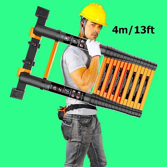 FF Escaleras Telescópicas Multifunción Escalera Telescópica Plegable de Extensión de 4M, Escalera de Extensión Recta de Aluminio Portátil de 13Ft para Home Loft Office, Capacidad de 150 kg: Amazon.es: Hogar