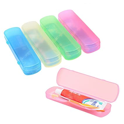 TOOGOO 4 bolsas de viaje de diferentes colores para cepillos de dientes, cajas de pasta