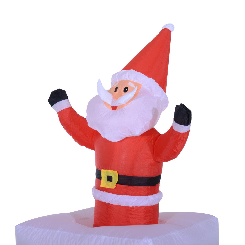 HOMCOM Papa Noel Chimenea Hinchable + 2 Infladores y Luz LED Decoracion Navidad Inflable