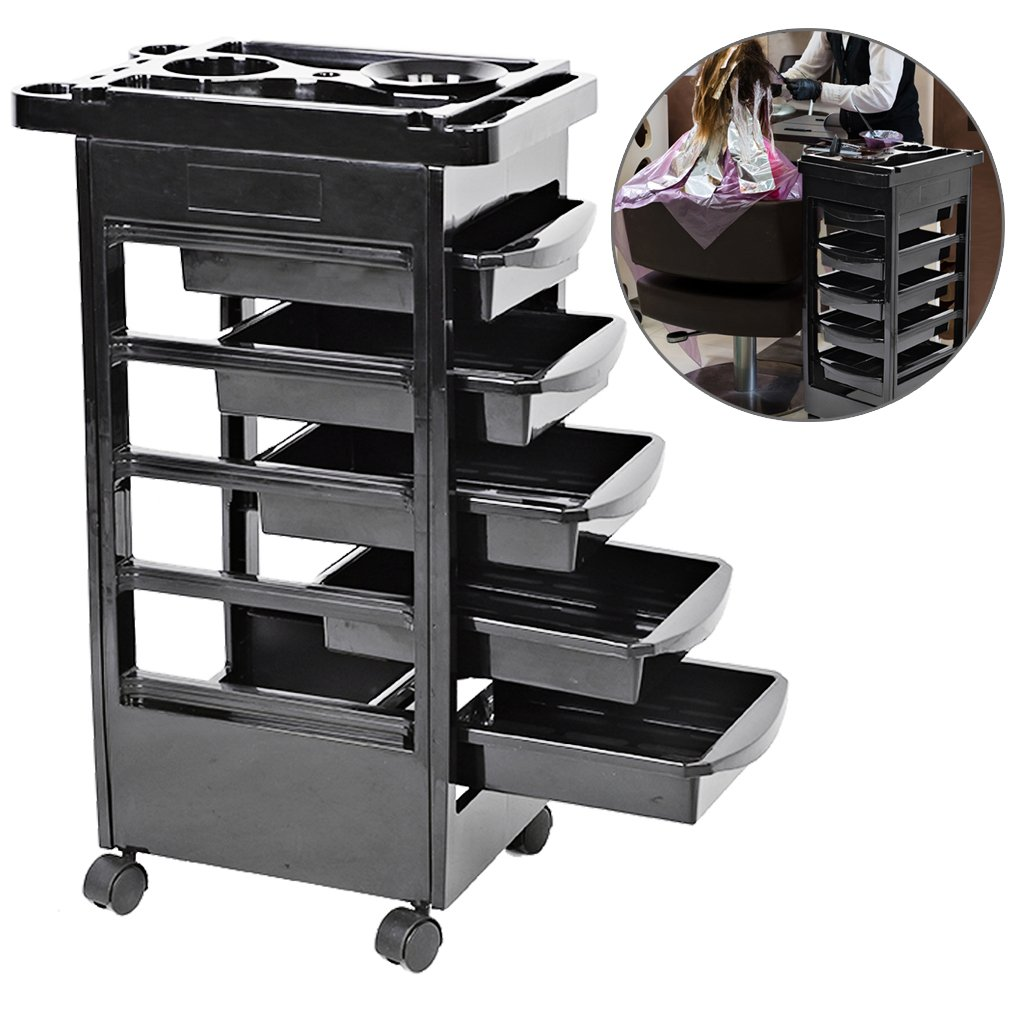 Salon Barber Cart Trolley Tray, Beauty Hairdressing 5 Drawers Iron Pipe Rack Rolling Wheels Cart With Hair Dryer Holder Storage Tool ZJchao