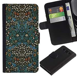EuroTech - Samsung Galaxy S3 III I9300 - Indian Culture Oriental Carpet Wallpaper - Cuero PU Delgado caso Billetera cubierta Shell Armor Funda Case Cover Wallet Credit Card
