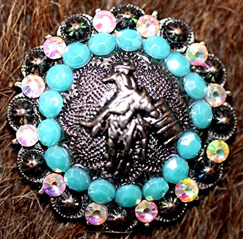 Barrel Concho - Lot 4 Conchos Horse Saddle Western Tack Bridle Barrel Turquoise Bling CO228