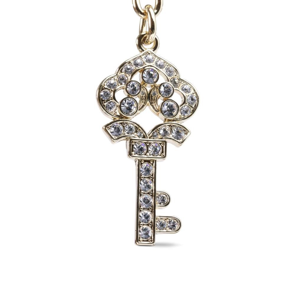 KALIFANO Gold Crown Key Keychain made with Swarovski Crystals