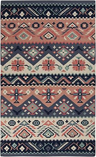 Surya JT2054-58 Hand Woven Casual Area Rug, 5 by 8-Feet, Navy/Butter/Coral/Cobalt/Teal ()