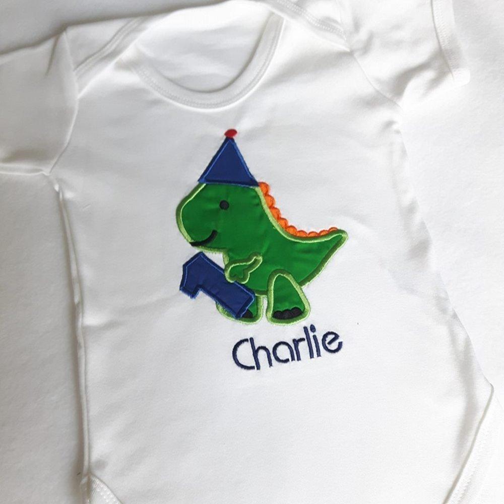 Personalised Baby Bib Dinosaur 1st Birthday  Any Name Birthday Gift