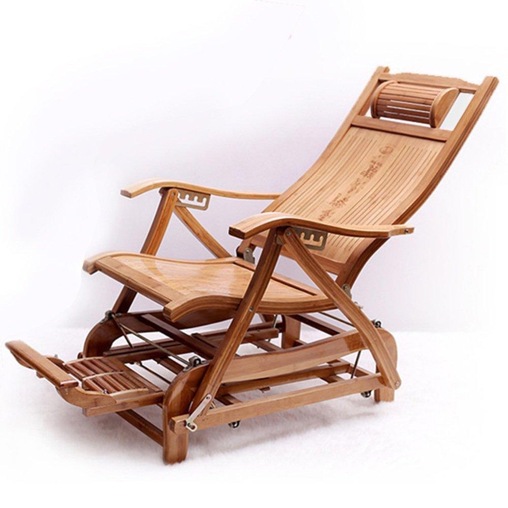 KTYXDE 竹ロッキングチェア折りたたみロッキングチェア老人椅子ホームレジャーチェアバルコニー成人昼寝ラウンジチェア 折りたたみ椅子   B07KVT85GT