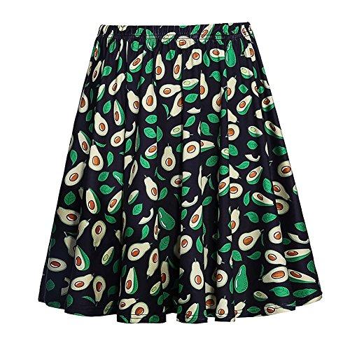 Fancyqube Women's Elastic Waist Avocado Print Flared Mini Skirt Black XL -