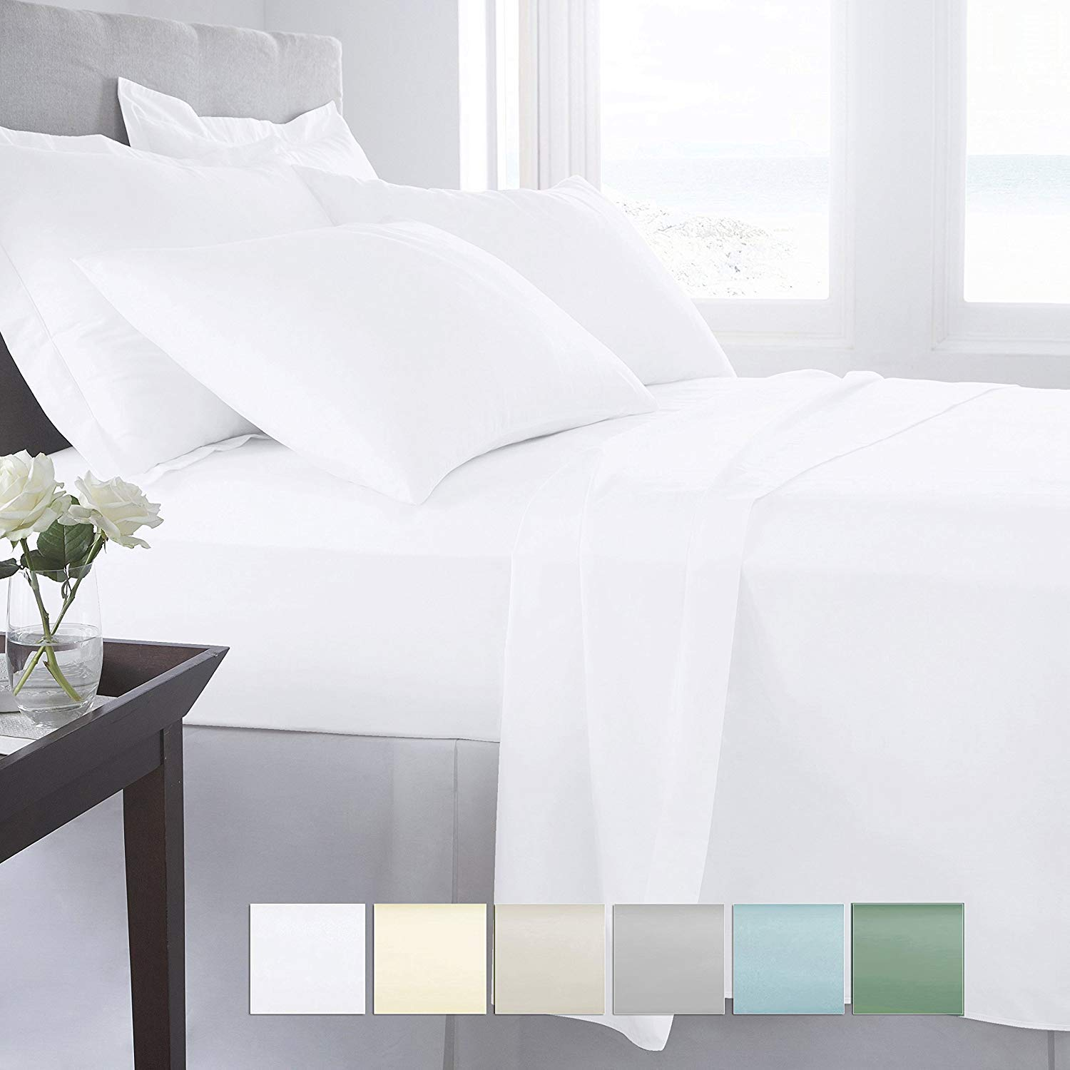Amazon.com: Pizuna 400 Thread Count White Twin XL Sheet Set, 100