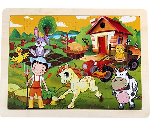 Yiping Early Childhood Games Educational Wooden Cartoon Puzzle Early Learning Number Shapes Color Animal Toy Fantastic Gifts for Kids(Farm)