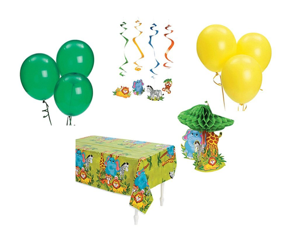 Set of 26 Piece - Zoo Animal Birthday Party Decorations Bundle Pack (1 Tablecloth, 1 Centerpiece, 12 Hanging Swirls, 12 Balloons)