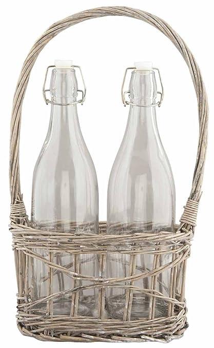 Clayre y fed 6RO0282 botella 2 botellas de vidrio con tapa en cesta ratán 21 x