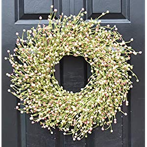 Elegant Holidays Handmade Cream, Pink, Green Berry Wreath, Decorative Front Door Welcome Guests Outdoor Indoor Home Wall Accent Décor Great for Spring, Easter, St. Patricks Day, All Seasons, 18-24 in 78