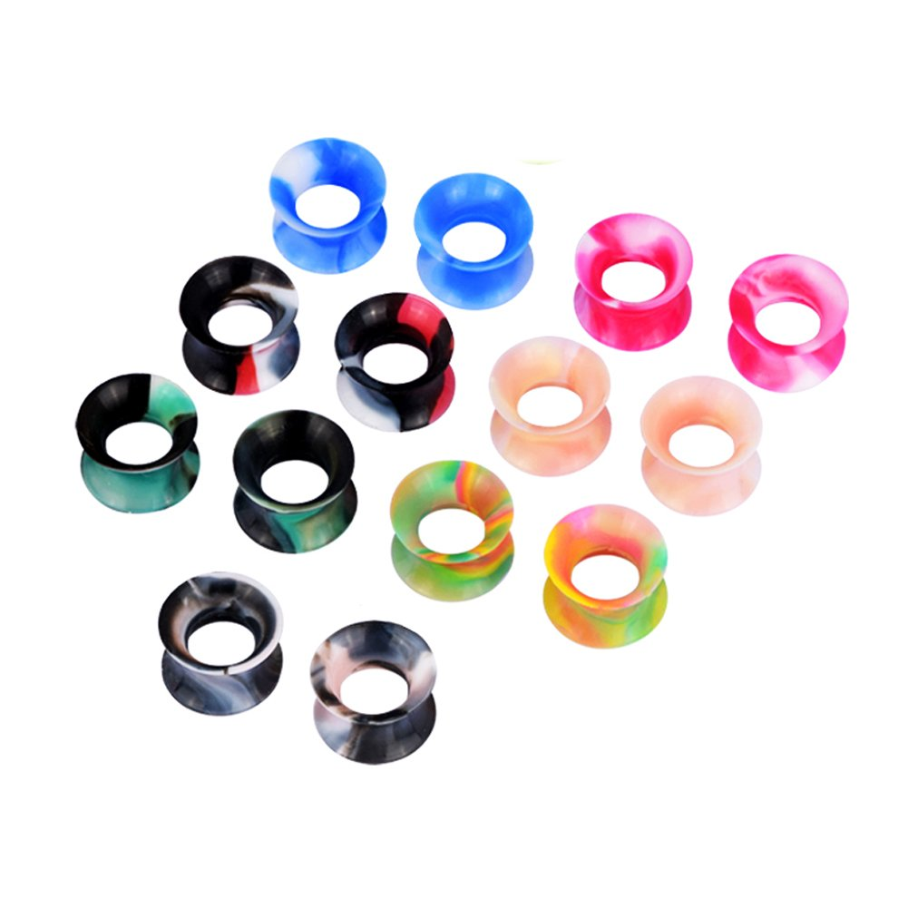 D/&M Jewelry 32//58 Pcs Mixed Colorful Thin Silicone 2g-3//4 Tunnel Plug Expander Piercing