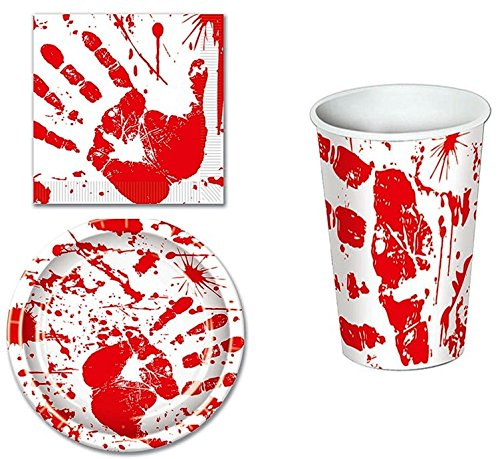 bloody handprints disposable party supplies halloween theme plates cups napkins