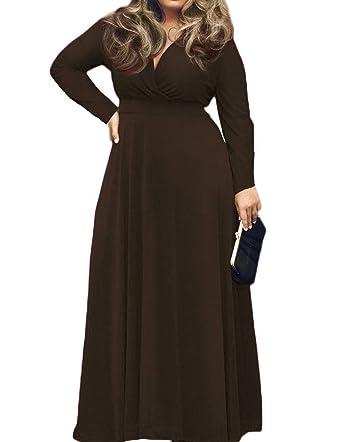 7567539c40e POSESHE Women's Plus Size Solid V-Neck Long Sleeve Evening Party Maxi Dress  (Large