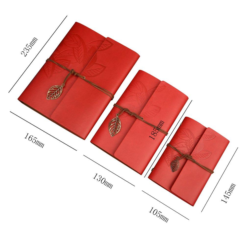 stile vintage Wine Red Taccuino ricaricabile ad anelli con copertina in pelle Zhi Jin formato A5